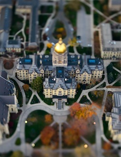 Main Building aerial taken with tilt-shift lens