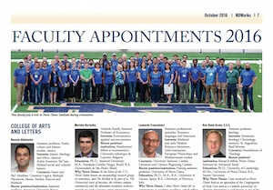 new faculty profiles from NDWorks newspaper