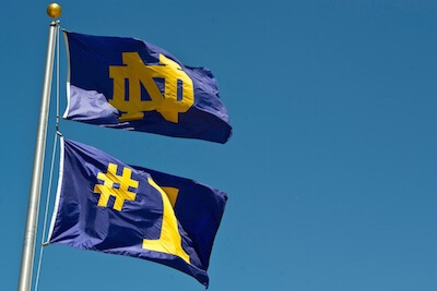 ND monogram and No. 1 flags
