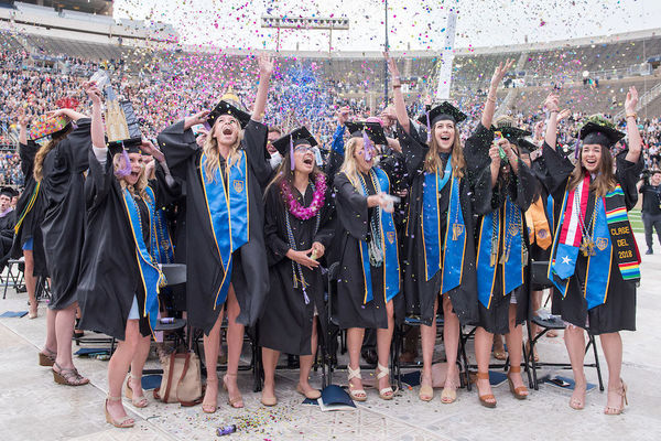 Women celebrate at the University of Notre Dame Commencement ceremony.