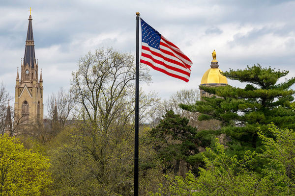 The Basilica, US flag and Main Building